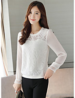 cheap -Women's Daily Street chic Spring Fall T-shirt,Solid Round Neck Long Sleeve Polyester Opaque
