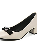 cheap -Women's Shoes PU Spring Comfort Heels Block Heel Square Toe for Casual Black Beige Khaki