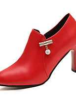 cheap -Women's Shoes PU Spring Fall Comfort Boots Chunky Heel for Outdoor Black Red