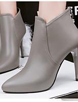 economico -Per donna Scarpe PU (Poliuretano) Primavera Autunno Comoda Stivaletti alla caviglia Stivaletti A stiletto per Casual Nero Grigio Marrone