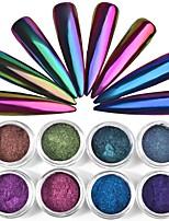 abordables -1pc Caméléon Nail Glitter Poudre Poudre de paillettes Nail Glitter Camouflage bleu violacé Nail Art Design