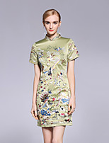 cheap -Women's Chinoiserie A Line Dress - Floral, Flower Stand