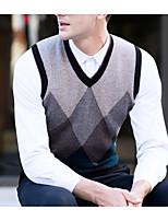 preiswerte -Herren Standard Weste-Alltag Einfarbig V-Ausschnitt Ärmellos Polyester Winter Herbst Dick Unelastisch