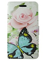 cheap -Case For Huawei P8 Lite Card Holder Wallet with Stand Flip Full Body Cases Butterfly Flower Hard PU Leather for