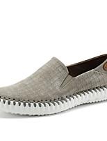 Недорогие -Муж. обувь Натуральная кожа Кожа Весна Лето Удобная обувь Обувь для дайвинга Мокасины и Свитер Аппликация для Повседневные Черный Серый