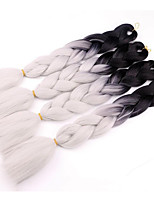 cheap -Jumbo Hair Braid Crochet 4pcs 100% Kanekalon Hair Black/White 22 inch Braiding Hair More Color For Afro Women Hair Extension