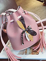 cheap -Women Bags PU Shoulder Bag Embroidery Tassel for Casual Outdoor Winter Yellow Beige Blushing Pink Red Black