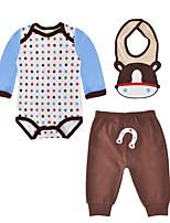 cheap -Baby Boys' Daily Polka Dot Clothing Set,Cotton Spring Fall Cute Casual Long Sleeve Light Brown