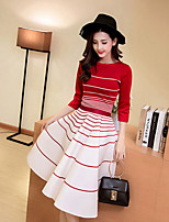 cheap -Women's Daily Casual All Seasons Set Skirt Suits,Striped Crew Neck 3/4 Sleeve Polyester Stretchy