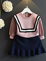 Недорогие -Девочки Набор одежды Повседневные Хлопок Бамбуковая ткань Однотонный Весна Короткие рукава На каждый день Розовый