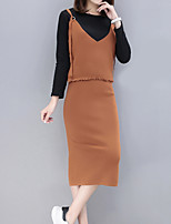 cheap -Women's Going out Simple Fall T-Shirt Skirt Suits,Solid Round Neck Long Sleeve Polyester