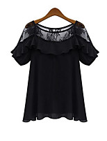 cheap -Women's Holiday Going out Casual Active All Seasons Blouse,Solid Round Neck Short Sleeve Polyester Medium
