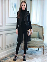 cheap -Women's Going out Street chic Fall Set Pant Suits,Solid Shirt Collar Long Sleeve Pure Color Polyester Micro-elastic