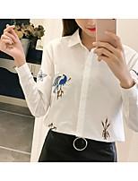 Недорогие -Для женщин Повседневные Осень Рубашка Рубашечный воротник,На каждый день С принтом Длинные рукава,Хлопок,Плотная