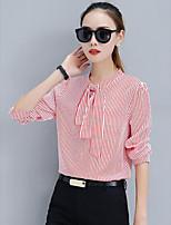 cheap -Women's Daily Casual Fall Shirt,Striped Crew Neck Long Sleeve Cotton Thin