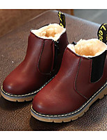 cheap -Girls' Shoes Leatherette Spring Fall Comfort Bootie Boots for Casual Burgundy Brown Black