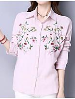 Camicia Da donna Casual Romantico Tinta unita Colletto Cotone Manica lunga