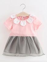 cheap -Baby Girls' Daily Print Clothing Set,Cotton Summer Simple Short Sleeve Blushing Pink White