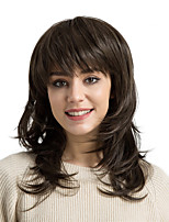 cheap -Synthetic Hair Wigs Natural Wave Side Part With Bangs Natural Wigs Medium Ash Brown