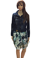 cheap -Women's Casual/Daily Simple Winter Fall Denim Jacket,Lolita Shirt Collar Long Sleeves Short Others