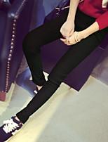 cheap -Women's Retro Hole Cotton Opaque Solid Color Stitching Lace Legging,Solid Plaid Print Black