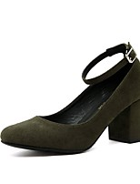 cheap -Women's Shoes Leatherette Spring Summer Basic Pump Heels Chunky Heel Pointed Toe Buckle for Casual Dress Green Black