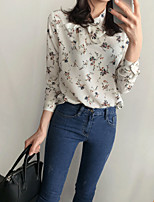 cheap -Women's Casual/Daily Street chic Blouse,Print V Neck Long Sleeves Polyester