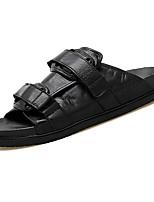 Недорогие -Муж. обувь Кожа Весна Лето Удобная обувь Тапочки и Шлепанцы для Повседневные Черный Коричневый