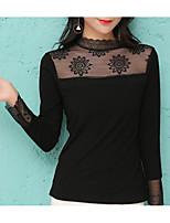 abordables -Mujer Casual Diario Otoño Camiseta,Escote Redondo Un Color Mangas largas Algodón Opaco