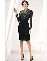 economico -Per donna Quotidiano Casual Fodero Al ginocchio Vestito,Basic A strisce Colletto Maniche lunghe