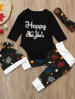 Недорогие -малыш Универсальные Набор одежды Для вечеринок Праздники Хлопок С принтом Весна Осень Длинные рукава Простой Очаровательный Черный