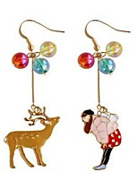 cheap -Women's Drop Earrings , Simple Mismatch Sweet Hard Plastic Alloy Princess Elk Jewelry Other Costume Jewelry