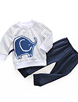 cheap -Baby Unisex Daily Striped Print Clothing Set,Cotton Spring Casual Long Sleeve Navy Blue