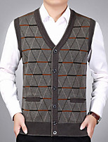 cheap -Men's Daily Regular Vest,Print V Neck Sleeveless Polyester Fall Thick Stretchy