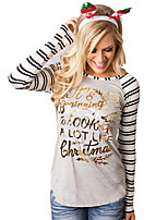 cheap -Women's Daily Sophisticated T-shirt,Striped Print Round Neck Long Sleeve Polyester