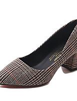 cheap -Women's Shoes PU Spring Fall Comfort Heels Low Heel for Outdoor Khaki Gray