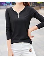 preiswerte -Damen Solide Freizeit Alltag T-shirt,V-Ausschnitt Winter Herbst Langärmelige Polyester Undurchsichtig