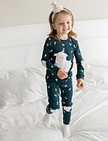 cheap -Girls' Color Block Sleepwear, Cotton Long Sleeves Blue