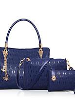 cheap -Women Bags PU Polyester Bag Set 3 Pcs Purse Set Zipper for Casual All Season Beige Black Gold Blue