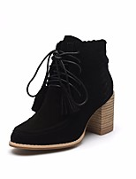 cheap -Women's Shoes Cowhide Winter Fall Combat Boots Boots Chunky Heel Round Toe Booties/Ankle Boots for Casual Brown Black