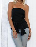 economico -T-shirt Da donna Serata Vintage Inverno,Tinta unita Senza spalline Cotone Senza maniche Medio spessore