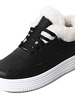 cheap -Women's Shoes PU Winter Comfort Sneakers Flat Heel Round Toe for Casual Black White