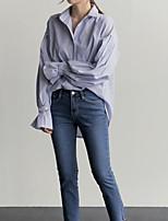 Недорогие -Для женщин На каждый день Весна/осень Рубашка V-образный вырез,Активный Полоски Длинный рукав,Хлопок,Экстра-тонкие