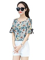 cheap -Women's Daily Going out Casual Street chic Spring Summer Blouse,Floral Round Neck Short Sleeve Polyester