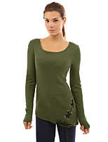 cheap -Women's Polyester Spandex T-shirt - Solid, Cut Out