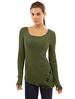 abordables -Tee-shirt Femme, Couleur Pleine - Ouvert Polyester Spandex