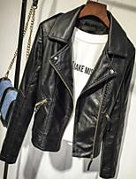 Недорогие -Повседневные Зима Кожаные куртки V-образный вырез,Простой Однотонный Длинная Длинные рукава,Полиуретановая,Крупногабаритные