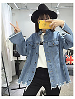 cheap -Women's Casual/Daily Simple Winter Fall Denim Jacket,Solid Stand Long Sleeves Short Cotton Classic