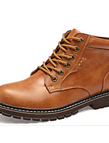 cheap -Men's Shoes Cowhide Winter Fall Comfort Combat Boots Boots Booties/Ankle Boots for Casual Brown Coffee Black