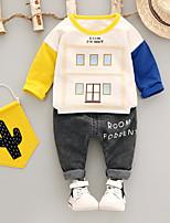 Недорогие -Универсальные Набор одежды Хлопок Полиэстер Контрастных цветов Весна Осень Красный Желтый